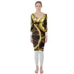 Lemon Dried Fruit Orange Isolated Long Sleeve Catsuit by Nexatart