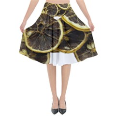 Lemon Dried Fruit Orange Isolated Flared Midi Skirt by Nexatart