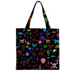 Rebus Zipper Grocery Tote Bag by Valentinaart