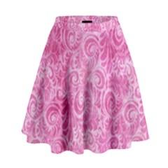 Pink Romantic Flower Pattern Denim High Waist Skirt by Ivana