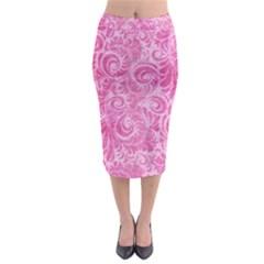Pink Romantic Flower Pattern Denim Midi Pencil Skirt by Ivana