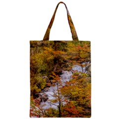 Colored Forest Landscape Scene, Patagonia   Argentina Zipper Classic Tote Bag by dflcprints