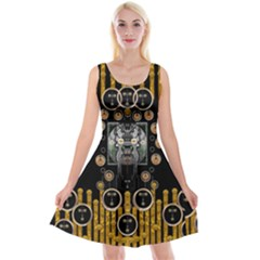 Foxy Panda Lady With Bat And Hat In The Forest Reversible Velvet Sleeveless Dress by pepitasart