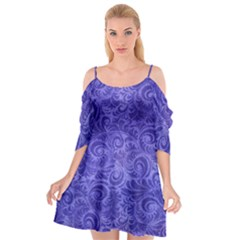 Vibrant Blue Romantic Flower Pattern Cutout Spaghetti Strap Chiffon Dress by Ivana