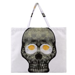 Skull With Fried Egg Eyes Zipper Large Tote Bag by dflcprints