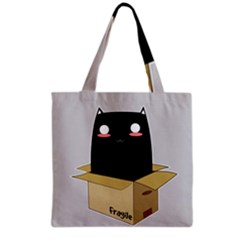 Black Cat In A Box Grocery Tote Bag by Catifornia