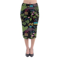 Wreaths Flower Floral Leaf Rose Sunflower Green Yellow Black Midi Pencil Skirt by Mariart