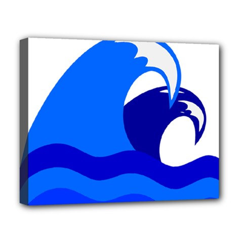 Blue Beach Sea Wave Waves Chevron Water Deluxe Canvas 20  X 16   by Mariart