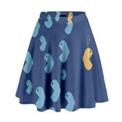 Blue Fish Sea Beach Swim Yellow Predator Water High Waist Skirt by Mariart