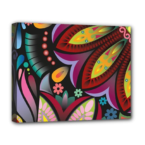 Flower Floral Sunflower Rose Color Rainbow Circle Polka Deluxe Canvas 20  X 16   by Mariart