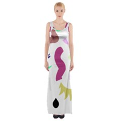 Plushie Color Rainbow Brown Purple Yellow Green Black Maxi Thigh Split Dress by Mariart