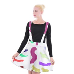Plushie Color Rainbow Brown Purple Yellow Green Black Suspender Skater Skirt by Mariart