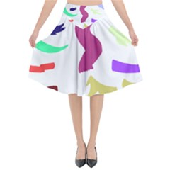 Plushie Color Rainbow Brown Purple Yellow Green Black Flared Midi Skirt by Mariart