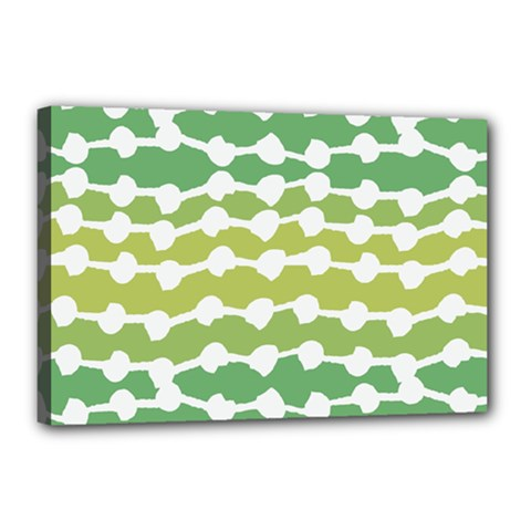 Polkadot Polka Circle Round Line Wave Chevron Waves Green White Canvas 18  X 12  by Mariart