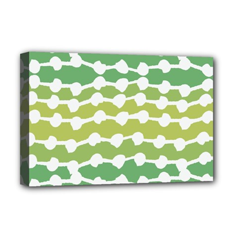 Polkadot Polka Circle Round Line Wave Chevron Waves Green White Deluxe Canvas 18  x 12   by Mariart