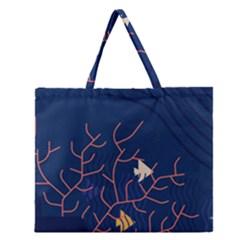 Sea Ocean Beach Swim Fish Wave Waves Chevron Blue Water Zipper Large Tote Bag by Mariart