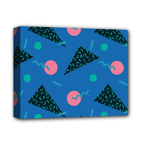 Seamless Triangle Circle Blue Waves Pink Deluxe Canvas 14  X 11  by Mariart