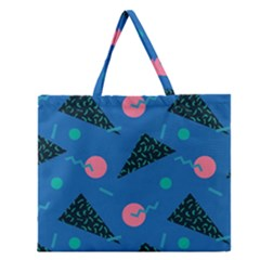 Seamless Triangle Circle Blue Waves Pink Zipper Large Tote Bag by Mariart