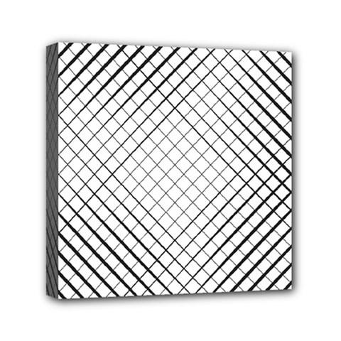 Simple Pattern Waves Plaid Black White Mini Canvas 6  X 6  by Mariart