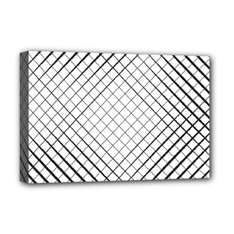 Simple Pattern Waves Plaid Black White Deluxe Canvas 18  X 12   by Mariart