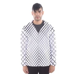 Simple Pattern Waves Plaid Black White Hooded Wind Breaker (men) by Mariart