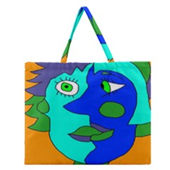Visual Face Blue Orange Green Mask Zipper Large Tote Bag by Mariart