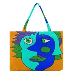 Visual Face Blue Orange Green Mask Medium Tote Bag by Mariart