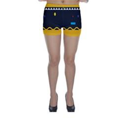 Bright Polka Wave Chevron Yellow Black Skinny Shorts by Mariart
