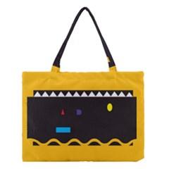 Bright Polka Wave Chevron Yellow Black Medium Tote Bag by Mariart