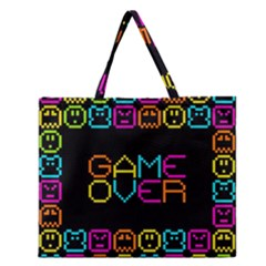 Game Face Mask Sign Zipper Large Tote Bag by Mariart