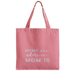 Home Love Mom Sexy Pink Zipper Grocery Tote Bag by Mariart