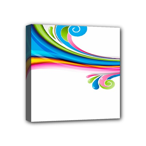 Colored Lines Rainbow Mini Canvas 4  X 4  by Mariart