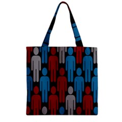 Human Man People Red Blue Grey Black Zipper Grocery Tote Bag by Mariart