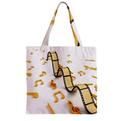 Isolated Three Dimensional Negative Roll Musical Notes Movie Zipper Grocery Tote Bag by Mariart