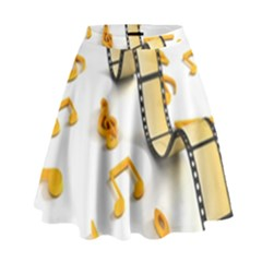 Isolated Three Dimensional Negative Roll Musical Notes Movie High Waist Skirt by Mariart