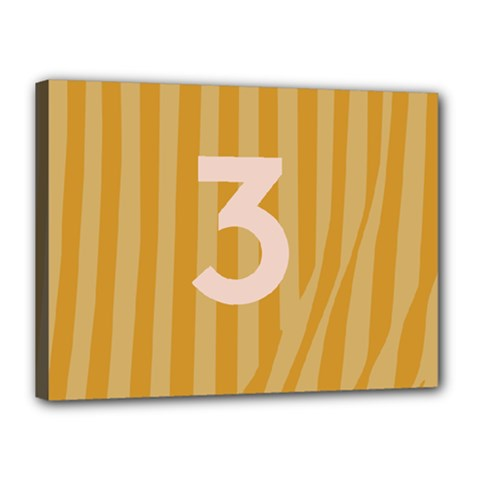 Number 3 Line Vertical Yellow Pink Orange Wave Chevron Canvas 16  X 12  by Mariart