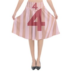 Number 4 Line Vertical Red Pink Wave Chevron Flared Midi Skirt by Mariart