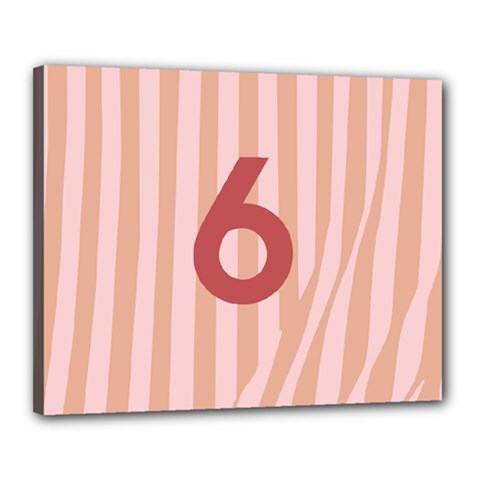 Number 6 Line Vertical Red Pink Wave Chevron Canvas 20  X 16  by Mariart