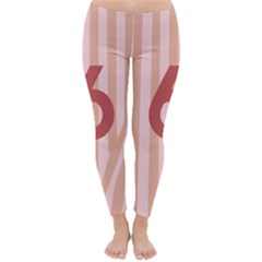 Number 6 Line Vertical Red Pink Wave Chevron Classic Winter Leggings by Mariart