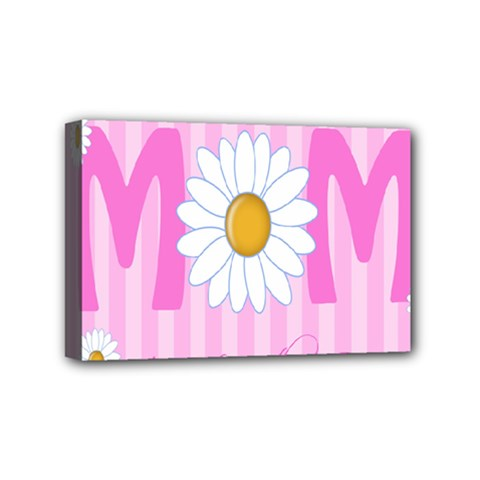 Valentine Happy Mothers Day Pink Heart Love Sunflower Flower Mini Canvas 6  X 4  by Mariart