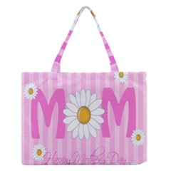 Valentine Happy Mothers Day Pink Heart Love Sunflower Flower Medium Zipper Tote Bag by Mariart