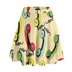 Telephone Cable Green Nyellow Red Blue High Waist Skirt by Mariart