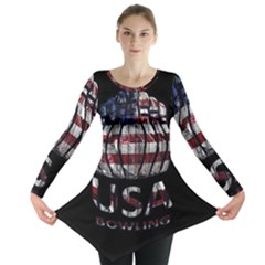 Usa Bowling  Long Sleeve Tunic  by Valentinaart
