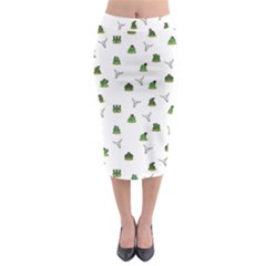 Cactus Pattern Midi Pencil Skirt by Valentinaart