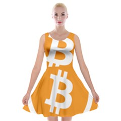 Bitcoin Cryptocurrency Currency Velvet Skater Dress by Nexatart