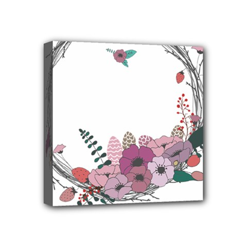 Flowers Twig Corolla Wreath Lease Mini Canvas 4  X 4  by Nexatart