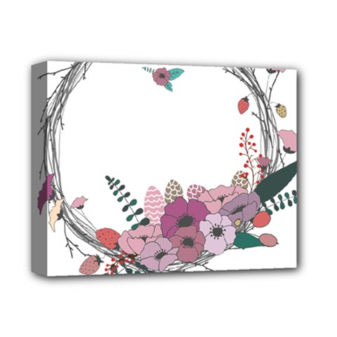 Flowers Twig Corolla Wreath Lease Deluxe Canvas 14  X 11  by Nexatart