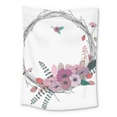 Flowers Twig Corolla Wreath Lease Medium Tapestry by Nexatart