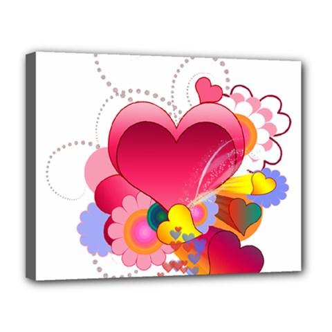 Heart Red Love Valentine S Day Canvas 14  X 11  by Nexatart