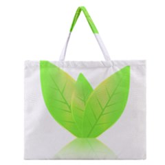 Leaves Green Nature Reflection Zipper Large Tote Bag by Nexatart